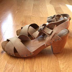 1ec1715ad9d7e Saks Fifth Avenue Shoes - Saks Fifth Avenue Boston Suede   Wood Clog Sandals